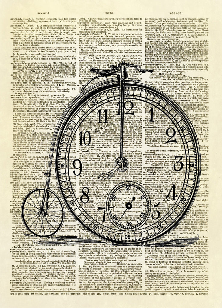 Big Wheel Antique Bicycle with Clock Dictionary Art Print