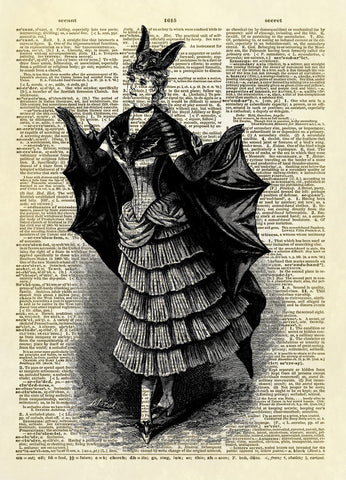 Antique Woman in Halloween Bat Costume Dictionary Art Print