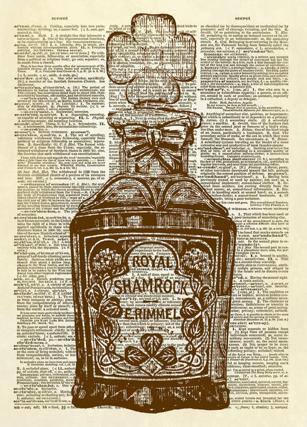 Royal Shamrock Antique Perfume Bottle Dictionary Art Print
