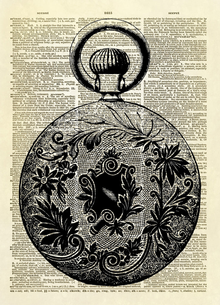 Floral Design Antique Pocket Watch Dictionary Art Print