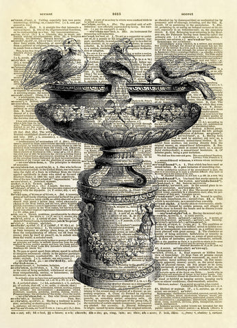 Antique Bird Basin Bath Dictionary Art Print