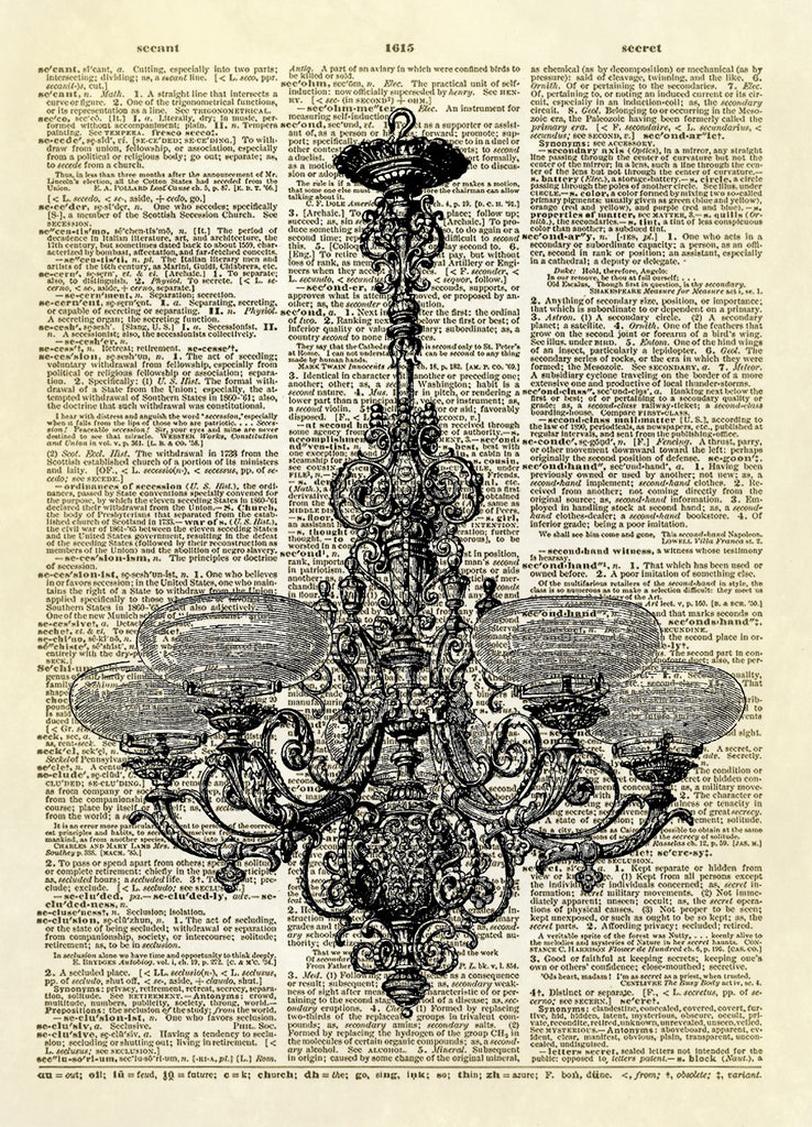Antique Chandelier Dictionary Art Print