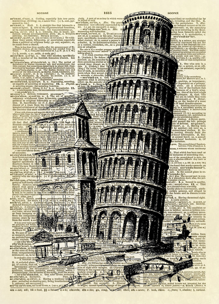 Leaning Tower of Pisa Dictionary Art Print