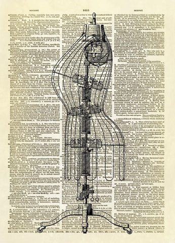 Antique Dress Form Dictionary Art Print