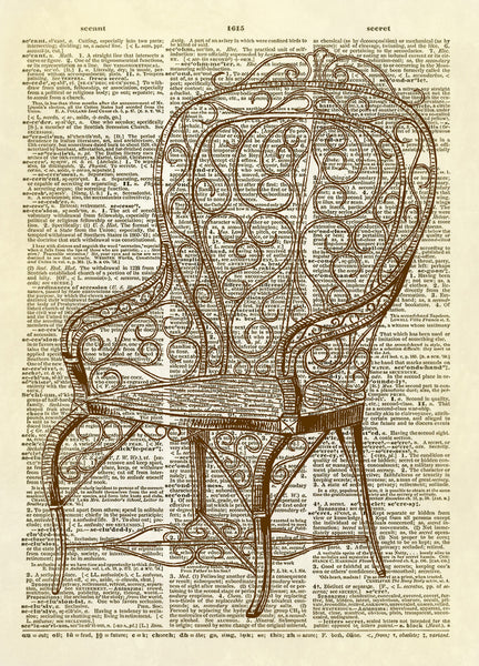 Antique Wicker Garden Chair Dictionary Art Print
