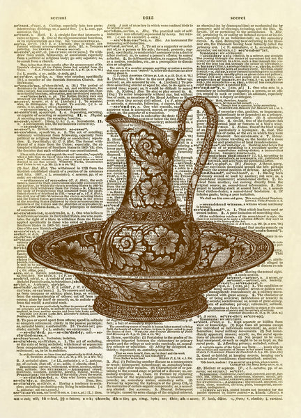 Antique Wash Basin Bowl and Pitcher Dictionary Art Print