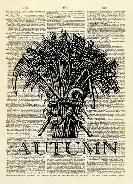 Autumn Harvest Sheaf of Wheat Dictionary Art Print