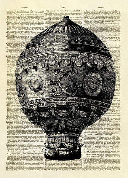 Steampunk Antique Hot Air Balloon Dictionary Art Print