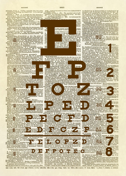 Snellen Eye Chart Dictionary Art Print