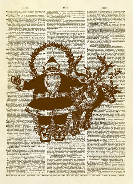 Santa Claus and Reindeer Dictionary Art Print
