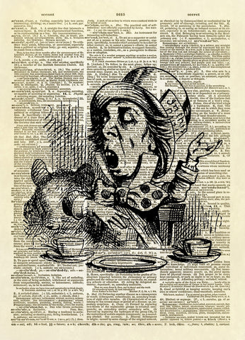 The Mad Hatter Alice in Wonderland Dictionary Art Print