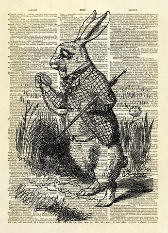 The White Rabbit Alice in Wonderland Dictionary Art Print