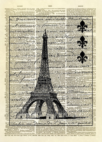 Eiffel Tower Collage Dictionary Art Print