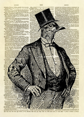 Bird Man in Tuxedo with Top Hat Dictionary Art Print