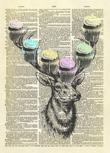 Whimsical Deer Head with Cupcakes on Antlers Dictionary Art Print