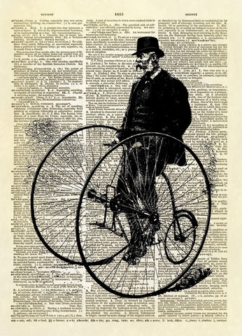 Man on Antique Tricycle Dictionary Art Print