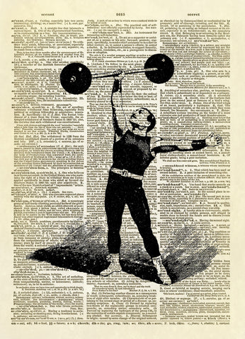 Antique Strong Man Lifting Weights Dictionary Art Print