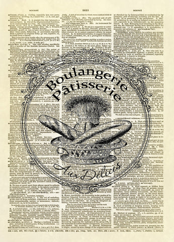 Boulangerie Patisserie Aux Delices Dictionary Art Print