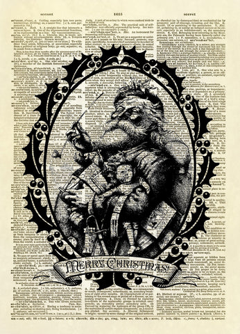 Vintage Santa Claus Dictionary Art Print