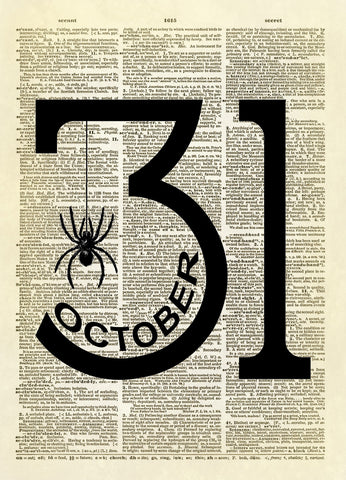 October 31 Halloween Dictionary Art Print