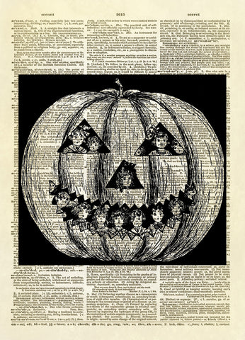 Halloween Pumpkin with Children Inside Dictionary Art Print