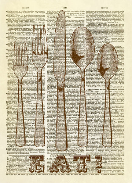 Silverware Kitchen Dictionary Art Print