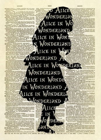 Alice in Wonderland Silhouette Dictionary Art Print