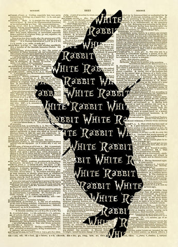 White Rabbit Alice in Wonderland Silhouette Dictionary Art Print