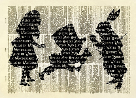 Alice in Wonderland Trio Silhouette Dictionary Art Print