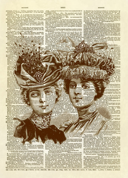 Antique Ladies in Fancy Hats Dictionary Art Print