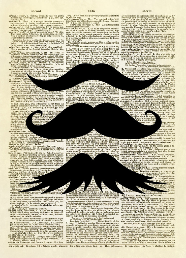 Mustache Trio Dictionary Art Print