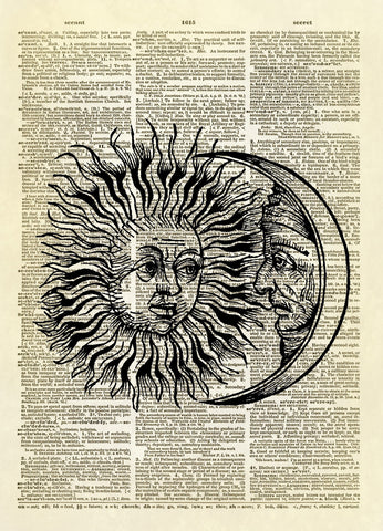 Antique Sun and Moon Dictionary Art Print