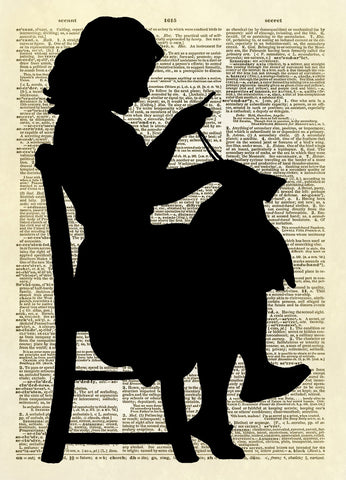 Young Girl Sewing Silhouette Dictionary Art Print