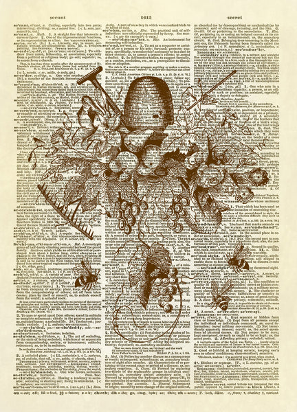 Honey Bees Collage Dictionary Art Print