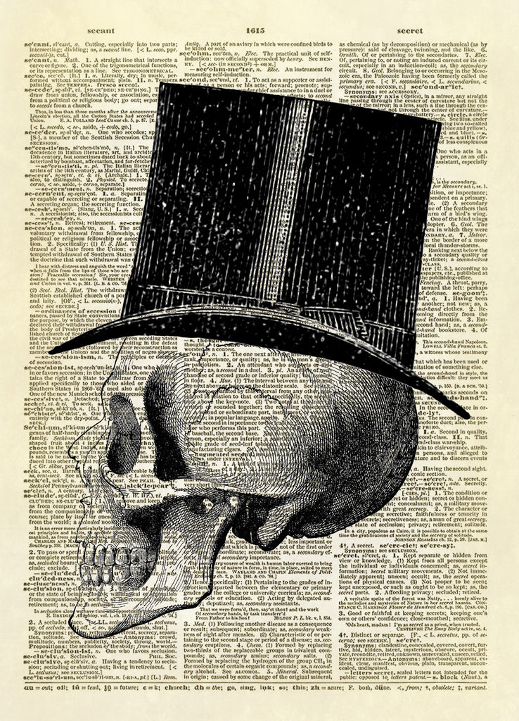 Halloween Human Skull with Top Hat Dictionary Art Print