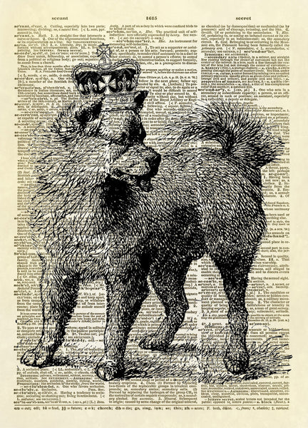 Dog Canine with Royal Crown Dictionary Art Print