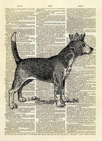Beagle Dog with Crown Dictionary Art Print