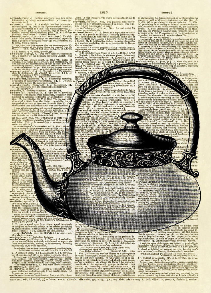 Antique Tea Kettle Dictionary Art Print