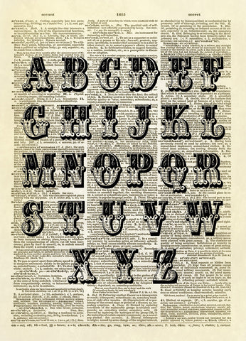 Fancy Alphabet Typography Dictionary Art Print