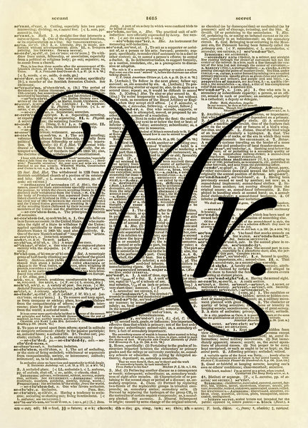 Mr. Marriage Wedding Word Typography Dictionary Art Print