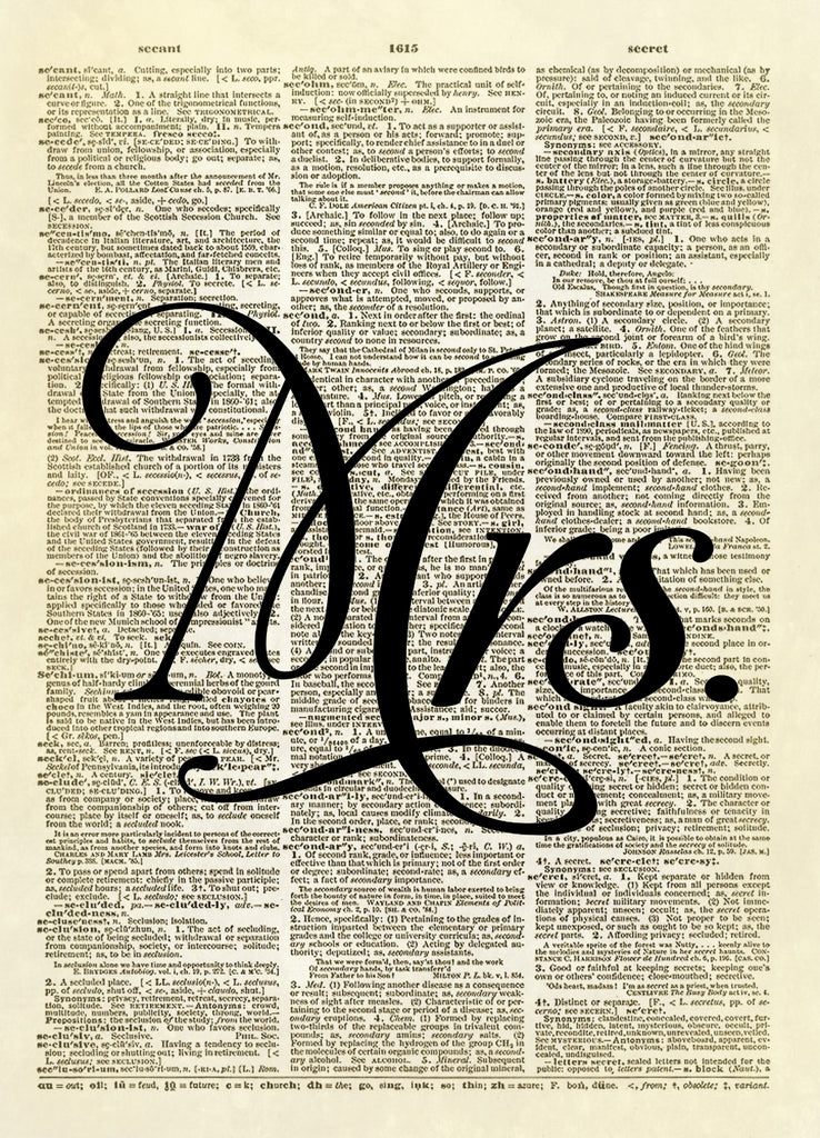Mrs. Marriage Wedding Word Typography Dictionary Art Print