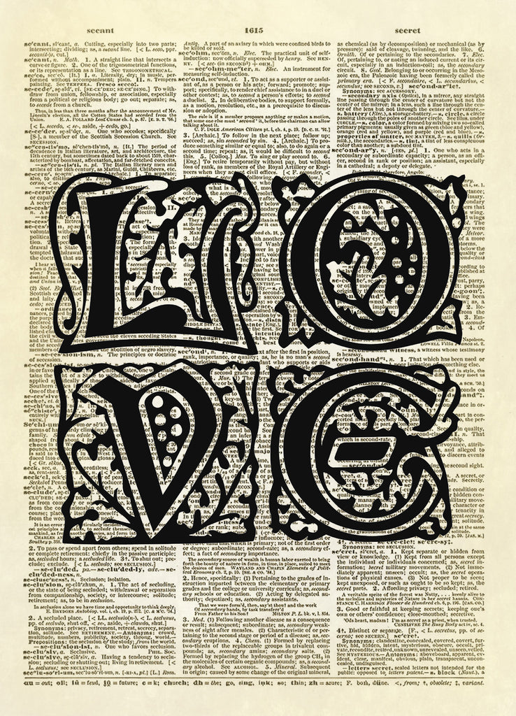 LOVE Letters Typography Dictionary Art Print