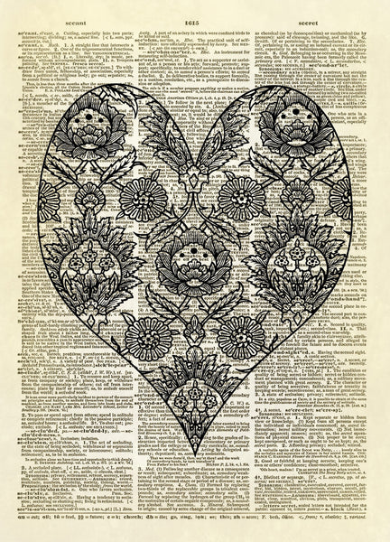 Decorative Chintz Heart Dictionary Art Print