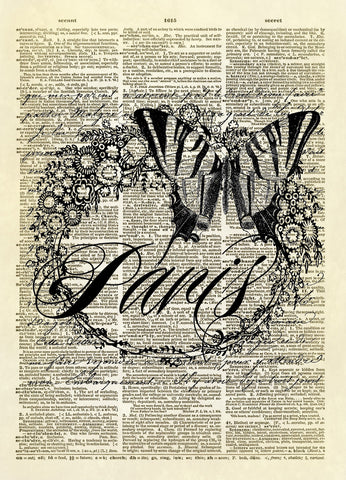 Paris Butterfly with Floral Wreath Dictionary Art Print
