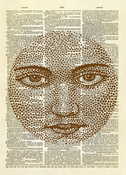 Man in the Moon Human Face Dictionary Art Print