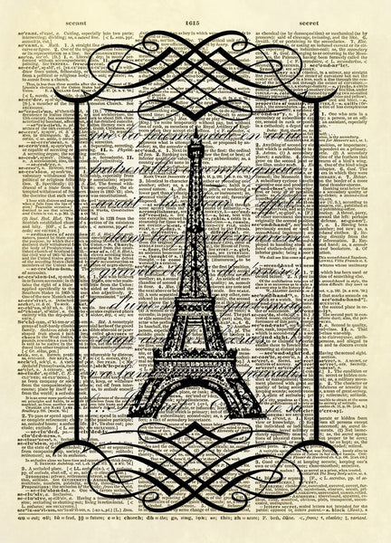 Eiffel Tower in Scroll Frame Dictionary Art Print