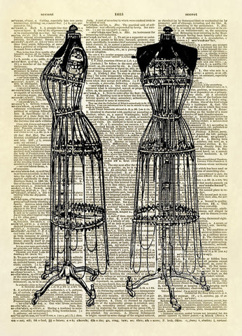 Antique Ladies Dress Forms Dictionary Art Print