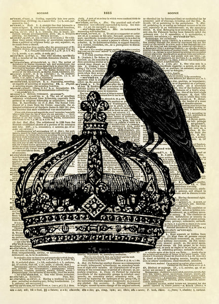 Royal Crown with Black Bird Dictionary Art Print