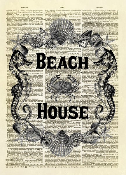 Beach House Sign Sea Shell Frame Dictionary Art Print