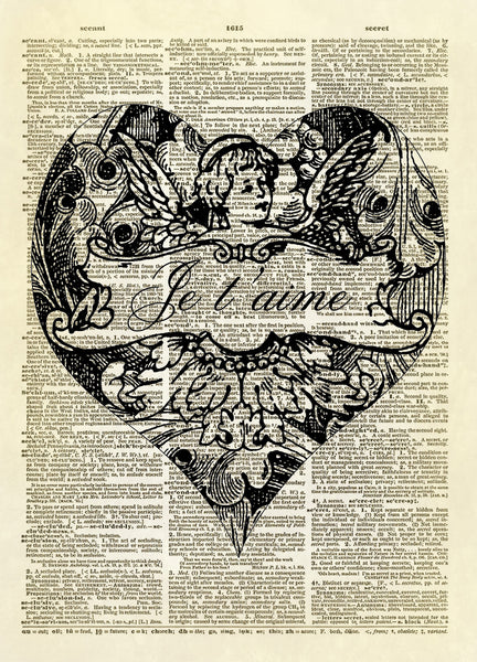 Je T'aime Cherub Heart Love Dictionary Art Print